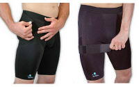 BioSkin compression shorts with cinch strap or groin wrap.