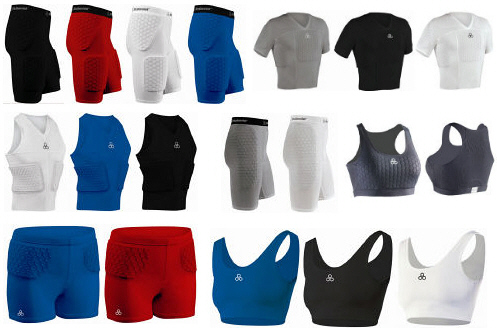 Hexpad Impact Protection Compression Body Shirts, Shorts, and Sports Bras by McDavid.
